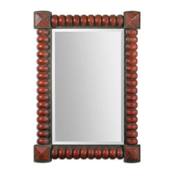 "Carolyn Kinder - Carolyn Kinder Clancy Rust Red Mirror X-96831 - Heavily distressed, carved wood frame with a rust red finish accented with rust bronze details. Mirror Has a generous 1 1/4"" bevel. May be hung horizontal or vertical."