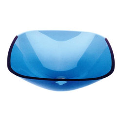 Renovators Supply - Vessel Sinks Blue Glass Square Tahoe Vessel Sink - Square Sinks, Glass Vessel Sinks: Single Layer Tempered glass sinks are five times stronger than glass, 1/2 inch thick, withstand up to 350 F degrees,  can resist moderate to high degrees of impact & are stain��_��__��_��__��_��__proof. Ready to install this package includes FREE 100% solid brass chrome-plated pop-up drain, FREE machined 100% solid brass chrome-plated mounting ring & silicone gasket. Measures 16 1/4 in. L x 16 1/4 in. W x 5 1/2 in. deep. x 1/2 in. thick.
