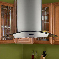 """30"""" Compass Series Stainless Steel Island Range Hood - 900 CFM - Perfect for your island cooktop, the 30"""" Compass Series range hood features a telescoping flue, accommodating most ceiling heights. With an exclusive stainless steel and glass design, this island vent will be the new focal point of your modern kitchen."""