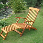 International Caravan - Torino Outdoor Wood Patio Steam Lounger - Equipped with attached foot rest. Cushion not included. Complete weatherproof and outdoor UV. Made from premium balau hardwood. Light protection. Very heavy and durable. Made for outdoor use. Very comfortable deep seating. Stain finish. 59.1 in. L x 31.5 in. D x 29.2 in. H