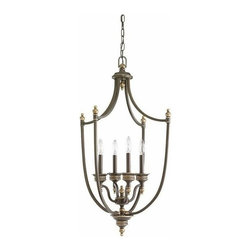 Sea Gull Lighting - 4-Light Hall / Foyer Estate Bronze - 51350-708 Sea Gull Lighting Laurel Leaf 4-Light Hall / Foyer with a Estate Bronze Finish