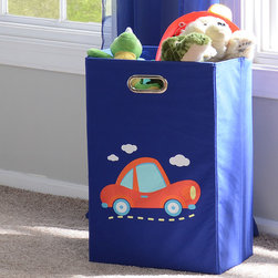 Blue Laundry Basket with Car - Basket measures 13.75L x 13.75W x 22.75H in.