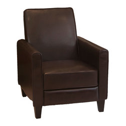 Great Deal Furniture - Lucas Modern Design Recliner Club Chair , Brown - Relax in your very own recliner club chair. Enjoy the dual-function that features both a foot extension as well as a reclining back. Chair is great for small spaces creating a great place to take a nap or watch TV.