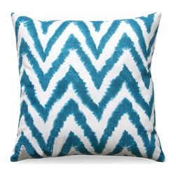 Gutke Pillow - A vivid traditional pattern with stunning contrasting hues of turquoise and white make the Cannes Pillow give a visual pop to your armchair, daybed, or window seat. Instantly catching the eye, this soft cotton pillow is stunning and high-impact.