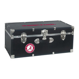 Seward Trunk - University of Alabama Storage Trunk - Officially licensed. Front center key lock. One handle on the front. Paper lined to help protect interior contents. Screen printed logo. Heavy gauge vinyl. Nickel hardware and trim. Made from wood. Black finish. Made in USA. 30 in. L x 15.75 in. W x 12.25 in. H (18 lbs.)Storage you can show off!!!