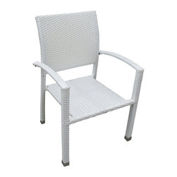 Bella Dining Outdoor Patio Armchair - Relax in confidence, as you effortlessly unite diverse forces to take center stage. Wealth and success surround you and draw attention to greater heights. This outdoor wicker dining chair has a sturdy aluminum frame covered with an espresso rattan weave.