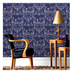 Graham & Brown - Damasquerade: Blue & Silver Wallpaper - Calling all the New (and Old) Romantics ! When you look closely you can see the hidden treasures in this wonderful design, the intricate Damask design is made up of a wonderful setting for a candlelit dinner for two. Available in deep indigo blue with the @Damasquerade_ design picked out in silver this design is perfect for the Lounge, Dining room, in fact anywhere around the home, and because it is printed using paste the wall technology (proven to cut normal decorating time in half) transforming your room is a far easier job than the washing up !