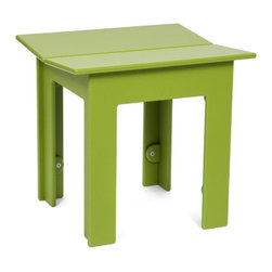 Loll Designs - Fresh Air Bench 18, Leaf Green - Fresh air is as important as healthy food and good friends and when all three coalesce there is something special that occurs. We named our Fresh Air Collection after just that. The clean lines and unique joinery make this a perfect table and bench for modern outdoor spaces. The bench has angled seat slats for a comfortable sit that won't allow water to pool on top. Made with half inch thick recycled plastic, both the table and bench are easy to move around and heavy enough to stay put in a gusty wind. The Fresh Air table and bench are sized perfectly for four even when two is really all you need.