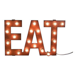 Eat Marquee Vintage-Style Sign - This Eat Marquee Vintage-Style Sign gives any space some much-needed illumination and an industrial vintage vibe. Made of rusted recycled metal and lit with small 5-watt bulbs, the marquee gives a directive that family and guests will surely be more than happy to follow.