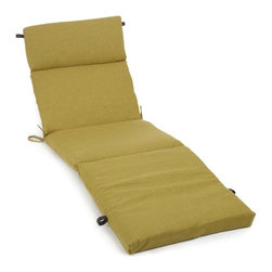 Blazing Needles - Blazing Needles Outdoor 72 x 22 Solid Patio Chaise Lounge Cushion - 93475-SGL-SO - Shop for Cushions and Pads from Hayneedle.com! Refresh your outdoor look this season with a Blazing Needles Outdoor Solid Patio Chaise Lounge Cushion. These cushions are made from super comfy material and designed to withstand the harsh damage that the sun and weather can cause. Available in a standard size this cushion is a great choice for classic wood or iron chaise lounges. It's equipped with thick premium foam that's removable so you can wash the cover. Choose from a variety of prints to make your chaise look like new again. About Blazing NeedlesBlazing Needles L.P. specializes in the manufacture of cushions pillows and futons. As a sister company of International Caravan Inc. Blazing Needles provides a wide variety of cushions to fit the frames and furniture pieces made by International Caravan. In particular Blazing Needles' production of papasan cushions occupies a unique niche within their industry and sets them apart as a prime supplier for certain retailers. Other services they provide include contract filling sewing and import sourcing. The headquarters of International Caravan and Blazing Needles is located in Fort Worth Texas.