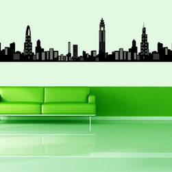 StickONmania - Impressive City Skyline Sticker - A cool vinyl decal wall art decoration for your home  Decorate your home with original vinyl decals made to order in our shop located in the USA. We only use the best equipment and materials to guarantee the everlasting quality of each vinyl sticker. Our original wall art design stickers are easy to apply on most flat surfaces, including slightly textured walls, windows, mirrors, or any smooth surface. Some wall decals may come in multiple pieces due to the size of the design, different sizes of most of our vinyl stickers are available, please message us for a quote. Interior wall decor stickers come with a MATTE finish that is easier to remove from painted surfaces but Exterior stickers for cars,  bathrooms and refrigerators come with a stickier GLOSSY finish that can also be used for exterior purposes. We DO NOT recommend using glossy finish stickers on walls. All of our Vinyl wall decals are removable but not re-positionable, simply peel and stick, no glue or chemicals needed. Our decals always come with instructions and if you order from Houzz we will always add a small thank you gift.