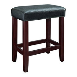 Powell - Powell Black Croc Faux Leather Counter Stool [Set of 2] - Add plush seating, simple design and sleek style to a kitchen counter or high top table with the Black Croc Counter Stool. Straight lined, espresso finished legs are supported with sturdy braces providing a footrest for comfort. The plush top is upholstered in a Croc style faux leather PU. Perfect for any style decor.