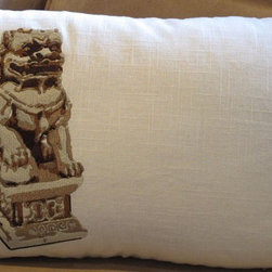 Foo Dog Pillow Facing Left Embroidered On Linen By Studio Design Lab - This limited edition embroidered foo dog pillow is 100-percent linen. It is also available in right-facing.