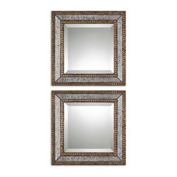 Vintage Antiqued Mirror Square Mirrors Antique Gold Frames Set of 2 - *Frame's inner and outer edges are heavily antiqued gold leaf with dark gray wash with antiqued mirror center panels. Center mirrors are beveled.