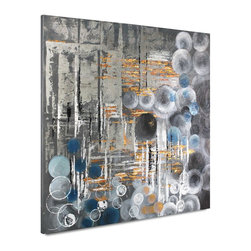 "Vertuu Design - 'Bubbly I' Artwork - Featuring a variety of overlapping blue and white circular designs against a gray and silver background, this hand-painted acrylic canvas combines sleek, metal-toned colors with an eclectic design for a unique appearance. Gold accents add warmth to this piece's cool color palette. Display the ""Bubbly I"" Artwork among neutral design elements for a cohesive look."