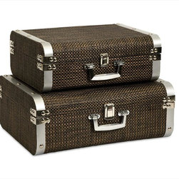 "Imax Worldwide Home - Curry Storage Suitcases with Stainless Steel Trim - Set of 2 - This set of two classic and sophisticated storage cases is covered in a woven chocolate toned cover and features stainless steel trim.; Country of Origin: China; Weight: 13.2 lbs; Dimensions: 5.75-6""h x 15-17""w x 11.25-13.5""d"