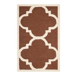 """Safavieh - Cora Hand Tufted Rug, Dark Brown / Ivory 2'6"""" X 4' - Construction Method: Hand Tufted. Country of Origin: India. Care Instructions: Vacuum Regularly To Prevent Dust And Crumbs From Settling Into The Roots Of The Fibers. Avoid Direct And Continuous Exposure To Sunlight. Use Rug Protectors Under The Legs Of Heavy Furniture To Avoid Flattening Piles. Do Not Pull Loose Ends; Clip Them With Scissors To Remove. Turn Carpet Occasionally To Equalize Wear. Remove Spills Immediately. Bring classic style to your bedroom, living room, or home office with a richly-dimensional Safavieh Cambridge Rug. Artfully hand-tufted, these plush wool area rugs are crafted with plush and loop textures to highlight timeless motifs updated for today's homes in fashion colors."""