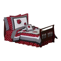 Sweet Jojo Designs - Little Ladybug (5 Pc.) - Sweet Jojo Designs Little Ladybug 5 piece toddler bedding ensemble has all that your little one will need. This funky and fun children's bedding set uses a collection of soft fabrics including...Red and White Polka Dot, Black and White Gingham, and solid white. This set will create a stylish room that your little one is sure to enjoy.