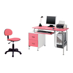 Techni Mobili - Techni Mobili Modern Steel Computer Desk in Pink / White - The Techni Mobili Modern Steel Computer Desk is made of heavy-duty engineered wood panels with a moisture resistant PVC laminate veneer and a scratch-resistant powder-coated steel frame. It features a built-in two drawer utility cabinet, a large slide-out keyboard shelf equipped with a safety stop, and a raised CPU platform. The desktop has an 80 lb weight capacity, the keyboard shelf, cabinet top and CPU platform each have a 30 lb weight capacity, and the drawers can each hold up to 22 lbs. COLOR: Pink & White.