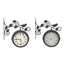 Mark Feldstein - Decorative Outdoor Bird Clock/Thermometer - Keep track of time and temperature while relaxing outdoors or working in the yard with this combination clock and thermometer.