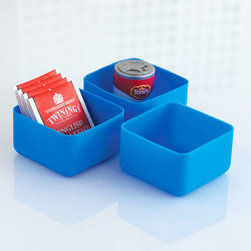 Blue Squeezit Drawer Sorters - Set of 3 - Are your drawers getting a bit unruly? You can sort them right out with these squeezable and easy to clean drawer organizers. They look just as good out on the counter as they do in the drawer. Their bright hue and squishy feel are fun for kids as well as adults.