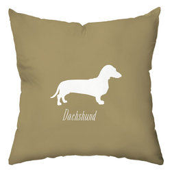 Checkerboard Ltd - Dachshund Decorative Throw Pillow - 18 inch by 18 inch - Silhouette of a dachshund on the front proudly proclaiming the breed with the back of pillow featuring a houndstooth pattern. Our softly textured fabric is long-lasting, wrinkle-resistant and feels as great as it looks.