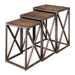 Kathy Kuo Home - Gispen Industrial Loft Leather Iron Nesting Tables - Set of 3 - Small spaces will live large when graced with three gorgeous nesting tables topped with natural leather and trimmed with silver metal rivets. Three industrial iron bases finished in brushed silver stack underneath each other for optimal use of space.