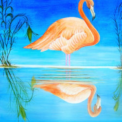 Beach House Accents - Wading Flamingo Painting - Beautiful Bright Vibrant colors this is an eye-catching painting, Great accent Art. with that wow affect. This magnificent Flamingo with beautiful detail, tropical colors this 36 x 24 Flamingo is sold as a Giclee (Copy) of the original each one is Signed by the artist and only 100 will be sold. Comes with a letter of Authenticity. Acrylic Medium. The original is for sale contact seller for price.
