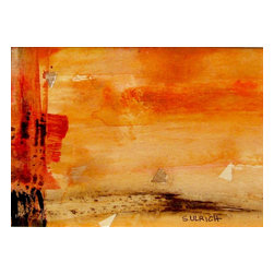 Touch Of Silk, Original, Painting - Soft, blending shades of coral and orange with red, brown, and black strokes.  Acrylic on heavy paper. 4.75 x 6.75 image in a 11 x 14 white mat and back. Ready for framing.