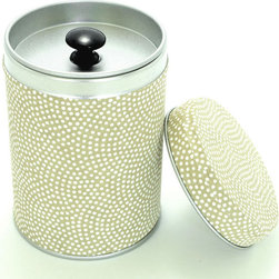 Olive tea canister - Olive tea canister with white dots for storing loose leaf teas. It's made with original Japanese rice paper and has an inside airtight lid.