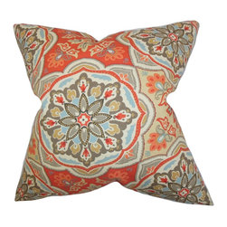 "The Pillow Collection - Luana Floral Pillow Orange 18"" x 18"" - This throw pillow features a rich detail in colorful and bright floral shapes. Toss one or few pieces of this accent pillow in your living space. This 18"" pillow update your interior with its contemporary look. Constructed with 100% soft cotton material and made in the USA. Hidden zipper closure for easy cover removal.  Knife edge finish on all four sides.  Reversible pillow with the same fabric on the back side.  Spot cleaning suggested."