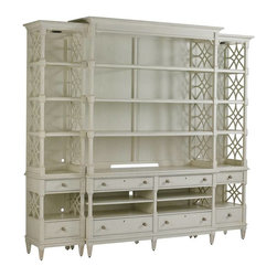 Stanley - Preserve Pavillion Media Bookcase - The open, intricate fretwork design of the Pavillion Media Bookcase reflects its Chinese Chippendale influences. With unmatched elegance, this wall system is a beautiful living room centerpiece.