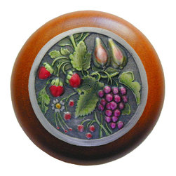 """Inviting Home - Tuscan Bounty Cherry Wood Knob (hand-tinted pewter) - Tuscan Bounty Cherry Wood Knob with hand-cast hand-tinted pewter insert; 1-1/2"""" diameter Product Specification: Made in the USA. Fine-art foundry hand-pours and hand finished hardware knobs and pulls using Old World methods. Lifetime guaranteed against flaws in craftsmanship. Exceptional clarity of details and depth of relief. All knobs and pulls are hand cast from solid fine pewter or solid bronze. The term antique refers to special methods of treating metal so there is contrast between relief and recessed areas. Knobs and Pulls are lacquered to protect the finish. Alternate finishes are available."""