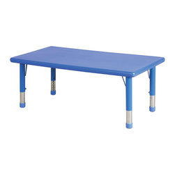 "Ecr4kids - Ecr4Kids Rectangular Resin Plastic Table Leg Height 18"" Yellow - Tabletop made of fade-resistant Polyethylene that will not crack, chip or peel. reinforced steel frame. Legs adjust in 1"" increments from 13.25"" to 22.25"". Choose from one of our Soft Tone Colors.Easy to clean surface, use a damp cloth or sponge using warm water & mild soap. Wipe dry. Use only a non-abrasive general purpose cleanser. Abrasive or alcohol based cleansers will mark/stain the table surface.Style Notes: Strawberry (RD)"