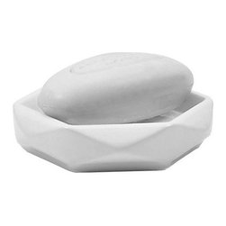 Gedy - Diamond Shaped White Ceramic Soap Holder - White, diamond shaped countertop soap holder made of ceramic.