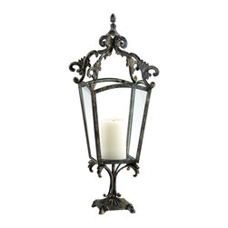 Cyan Design - Cyan Design Trevi Candleholder X-60340 - The open top lantern of this Cyan Design candleholder is paired with a pedestal base and intricate detailing throughout. The base and top feature flourishes of leafy accents. A finial at the top adds to the elegance and a subtle aged finish compliments the metal frame.