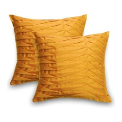 Sentiments Sofia Throw Pillow - Set of 2 - The unique pleated pattern of the Sofia Throw Pillow - Set of 2 will make these pillows an eye-catching accent anywhere you choose to place them. Available in an array of vibrant colors these Origami-inspired pillows are crafted of smooth 100% polyester microfiber with the look and feel of silk. The clean knife-edge finish and hidden zipper closure detail give each pillow a polished shape. Stuffed with plush poly fill these pillows are soft and comfortable - perfect for the sofa bed or your favorite chair. Choose your size and color and you're all set! Here's to living the bright way! Pillow Dimensions: Square (each): 20L x 20W in. Rectangular (each): 14L x 20W in.