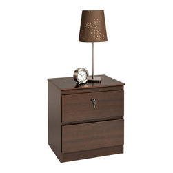 Prepac - Prepac Avanti Espresso 20 Inch 2-Drawer Nightstand w/ Lock - Security, storage and style come together in the Avanti 2 Drawer Nightstand with Lock. With two full-sized drawers and no visible hardware, this is the sleek bedside table you've been looking for. The top drawer comes fitted with a lock, ensuring that you're the only one with access to your personal items. Minimalist in style and maximized in functionality, this night table is a useful addition to any bedroom. Capitalize on storage and style by adding other pieces in the Avanti Bedroom Collection!