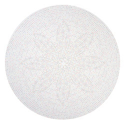 """Huddleson Linens - Multicolor Dot Round Linen Tablecloth, 108"""" Round - Fresh, artistic round linen tablecloth features multicolored polka dots on a white background.  The dots form a subtle flower motif creating a truly unique piece of art designed for your table.  The exquisite color selection creates a joyful ambience without ever overpowering.  100% Italian linen. Machine washable."""