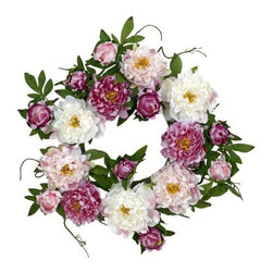 Nearly Natural - 22 Inch Peony Wreath - Celebrate the colors and good feelings of springtime all year long with this stunning Peony Wreath. With a virtual cornucopia of warm, vibrant hues and differing textures, this is the perfect wreath for those who appreciate the delicate beauty that nature provides. The wispy green leaves and stems provide the perfect visual offset, making this an ideal display piece for all seasons!