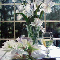 Trisha Selgrath Fine Art - White, LE Giclee Print on Paper - White features white irises from the artist's garden partially arranged while the other flowers lay in the foreground to be trimmed and added to the cut crystal vase. A glass of white wine in the foreground adds an additional element interest with distorted reflections.