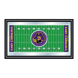 Trademark Global - Framed Football Field Mirror w East Carolina - Great for gifts and recreation decor. Mirror with print. Black wrapped wood frames. 26 in. W x 15 in. H (10 lbs.)This East Carolina University Officially Licensed Football Field Wall Mirror is the perfect gift for the ECU Fan in your life.