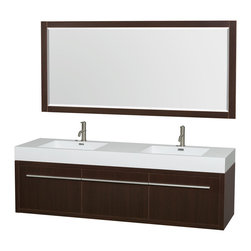 "Wyndham Collection - Axa 72"" Espresso DBL Vanity, Acrylic Resin Top, Integrated Sinks, 70"" Mrr - The bold, ultra-modern and visually stunning design of the Axa wall-hung vanity makes a powerful statement while incorporating generous counter space and storage for bath items. The one-of-a-kind styling ensures a high-end look at a very reasonable price and brings an element of contemporary sophistication to a fabulous bathroom remodel. Satin Chrome accents finish the look - It's quite remarkable, and all the more so in person."