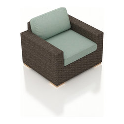 Harmonia Living - Arden Modern Patio Club Chair, Spa Cushions - The Arden Outdoor Modern Club Chair with Turquoise Sunbrella® Cushions (SKU HL-ARD-CC-CH-SP) brings a cozy, rustic appeal to modern outdoor furniture. Its beautiful wicker is finished with a weathered Chestnut finish and is made from High-Density Polyethylene (HDPE), which ensures that the wicker will neither fade nor peel in regular sun exposure. What makes the Arden Collection unique is its high arms, modern style, and extra-plush cushions, all with a hint of classic traditional looks. Its teak feet elevate the seats in an attractive fashion that accent the wicker. The cushions are made from Sunbrella fabric, which is available in a large assortment of shades to give your Arden set the look that fits right into your outdoor space.