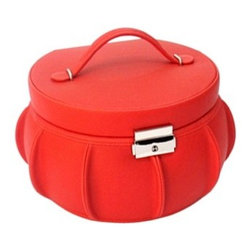 Morelle - Allison Leather Jewelry Box, Red. - This enchanting jewelry box affords lots of room for all your jewelry and accessories and a takeout compartment for added organization. The lovely tufting on the leather adds to its magical appearance. Also includes mirror and pocket on the lid and lock and key for safety.