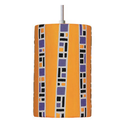 A19 - Ladders Pendant Amber With Canopy - Our Ladders pattern is reminiscent of traditional Japanese design, with its simple geometric shapes and bamboo-like stripes between bands of color. Hand built, hand glazed, a treasure for any location.