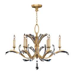 Fine Art Lamps - Beveled Arcs Gold Chandelier, 761240ST - Grand and graceful beveled crystals and a warm, muted gold-leaf finish give this chandelier its unique look. Let it shine its light over your favorite formal setting.