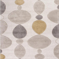 Unknown - Hand-Made Ivory/ Gray Wool/ Art Silk Plush Pile Rug (3.6X5.6) - Hand-Made Ivory/ Gray Wool/ Art Silk Plush Pile Rug (3.6X5.6)