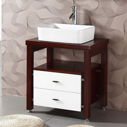 Legion Furniture - Legion Furniture River 27 in. Single Bathroom Vanity with Optional Mirror Multic - Shop for Bathroom from Hayneedle.com! The Legion Furniture River 27 in. Single Bathroom Vanity with Optional Mirror is a freestanding unit with a contemporary appeal that blends stark white chrome and rich cherry brown into one luxurious package. This modern vessel sink vanity is crafted from solid wood and features two spacious pull-out drawers an open shelf that would be perfect for towels and an expansive wooden top that can accommodate your ceramic basin and faucet (sold separately) arrangement. Best of all this piece can be purchased as is or with the matching wall mirror that boasts the same solid wood construction and cherry brown finish for its base as well as a convenient shelf. Additional Information Mirror Dimensions: 2L x 22W x 27.5H inches About Legion Furniture LLCLegion Furniture LLC is a Sacramento California-based company that specializes in commercial and residential furniture. The company offers thousands of items all made by expert craftsmen. Their product lines incorporate a wide variety of styles to address the needs of every designer. From contemporary vanities to traditional barstools Legion Furniture can outfit your home in the style of your dreams.
