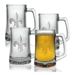 INSTEN - Fleur De Lis Beer Mugs (Set of 4) - Get a taste of France from these fleur-de-lis glass tankards. Whether you want to drink beer,cider,or orange juice,these stylish glasses make a great addition to your bar set. They hold 15 ounces of drink,so your thirst can be sufficiently slaked.